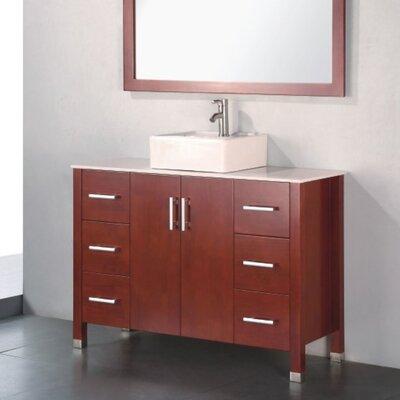 Adrian 48 Single Bathroom Vanity Set with Mirror Base Finish: Chestnut