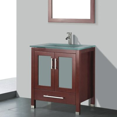 Amara 24 Single Bathroom Vanity Set with Mirror Base Finish: Chestnut