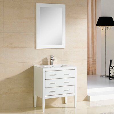Camile 36 Single Bathroom Vanity Set with Mirror Base Finish: Matte White