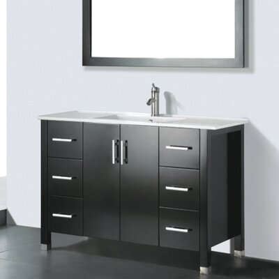 Vidya 48 Single Wood Bathroom Vanity Set with Mirror Base Finish: Espresso