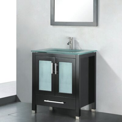 Amara 24 Single Bathroom Vanity Set with Mirror Base Finish: Espresso