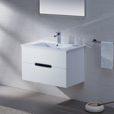Yakira 32 Single Bathroom Vanity Set with Mirror Base Finish: High Gloss White