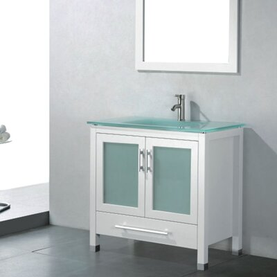 Amara 36 Single Bathroom Vanity Set with Mirror Base Finish: White