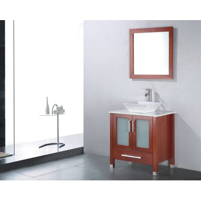 Adrian 36 Single Bathroom Vanity Set with Mirror Base Finish: Chestnut