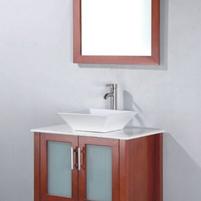 Adrian 24 Single Bathroom Vanity Set with Mirror Base Finish: Chestnut