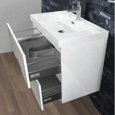 Bellezza 40 Single Vanity with Mirror Base Finish: High Gloss White