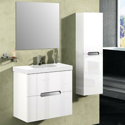 Bellezza 24 Single Vanity Set with Mirror Base Finish: High Gloss White