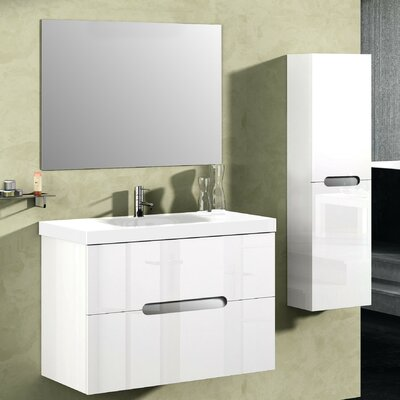 Bellezza 32 Single Vanity Set with Mirror Base Finish: High Gloss White