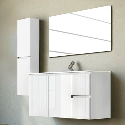 Belleza 40 Single Vanity Set with Mirror Base Finish: High Gloss White