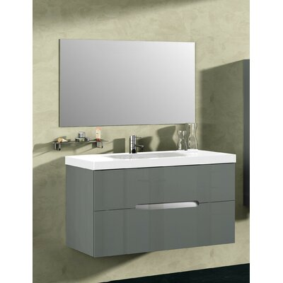 Bellezza 40 Single Vanity with Mirror Base Finish: Anthracite
