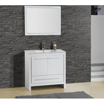 Alexa 30 Single Vanity with Mirror Finish: High Gloss White