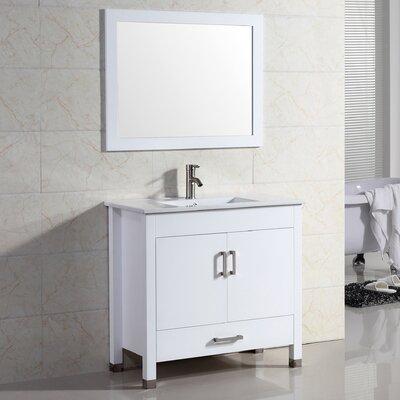 Vidya 30 Single Bathroom Vanity Set with Mirror Base Finish: White