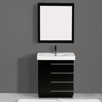 Carlo 30 Single Vanity Set with Mirror Finish: Black