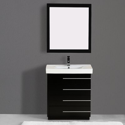 Carlo 36 Single Vanity Set with Mirror Finish: Black