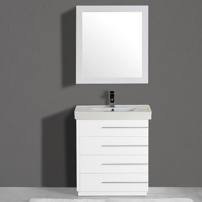 Carlo 30 Single Vanity Set with Mirror Finish: White