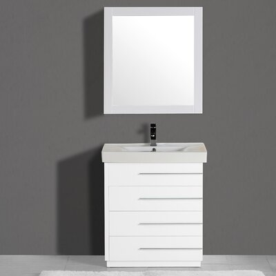 Carlo 36 Single Vanity Set with Mirror Finish: White