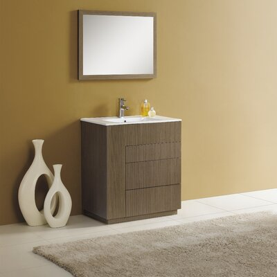 Cosmo 30 Single Vanity Set with Mirror Finish: Gray Oak