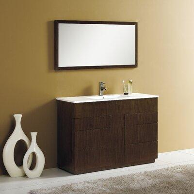Cosmo 48 Single Vanity Set with Mirror Finish: Wenge