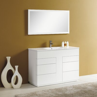 Cosmo 48 Single Vanity Set with Mirror Finish: Matt White