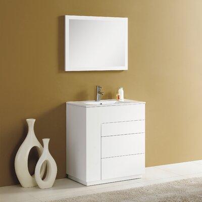 Cosmo 30 Single Vanity Set with Mirror Finish: Matt White