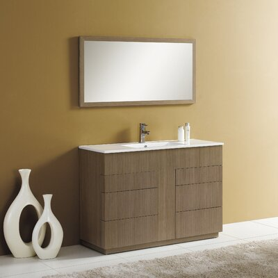 Cosmo 48 Single Vanity Set with Mirror Finish: Gray Oak