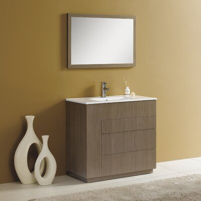 Cosmo 36 Single Vanity Set with Mirror Finish: Gray Oak
