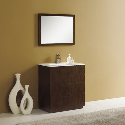 Cosmo 36 Single Vanity Set with Mirror Finish: Wenge