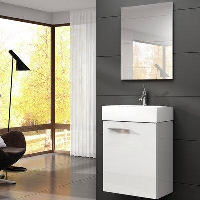 Tiny 18 Single Bathroom Vanity with Mirror Base Finish: High Gloss White
