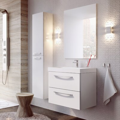 Jump 32 Bathroom Vanity Set with Mirror Base Finish: High Gloss White