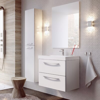 Jump 24 Bathroom Vanity Set with Mirror Base Finish: High Gloss White