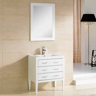 Camile 30 Single Bathroom Vanity Set with Mirror Base Finish: Matte White