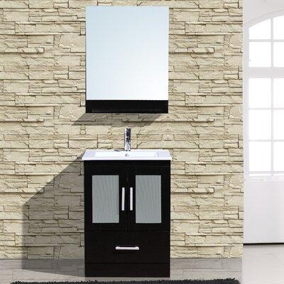 Alva 24 Single Bathroom Vanity with Mirror Base Finish: Espresso