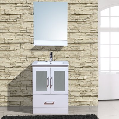 Alva 24 Single Bathroom Vanity with Mirror Base Finish: White