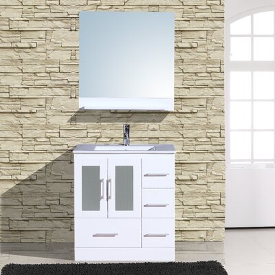 Alva 30 Single Bathroom Vanity with Mirror Base Finish: White