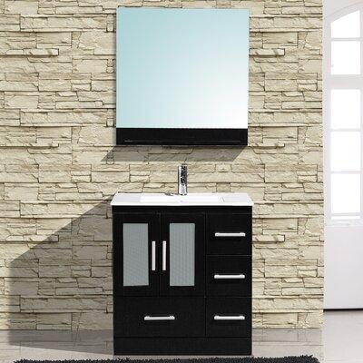 Alva 30 Single Bathroom Vanity with Mirror Base Finish: Espresso