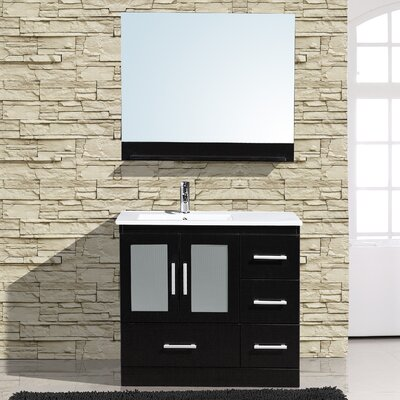 Alva 36 Single Bathroom Vanity with Mirror Base Finish: Espresso