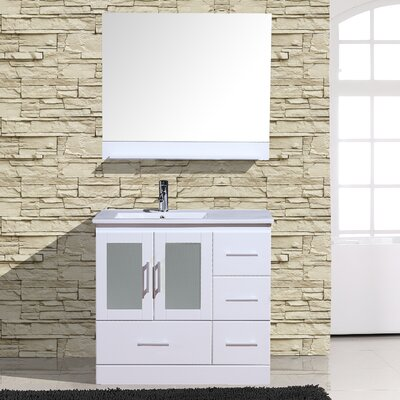 Alva 36 Single Bathroom Vanity with Mirror Base Finish: White