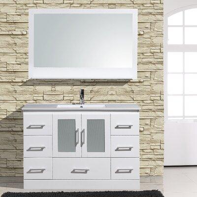 Alva 48 Single Bathroom Vanity with Mirror Base Finish: White