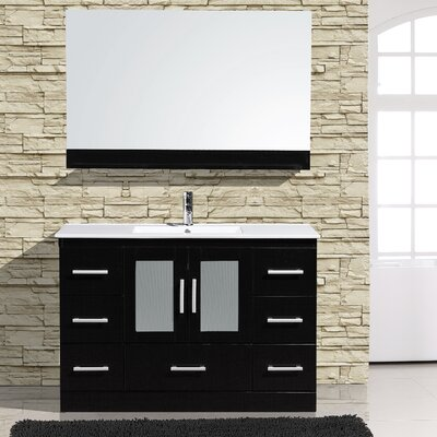 Alva 48 Single Bathroom Vanity with Mirror Base Finish: Espresso