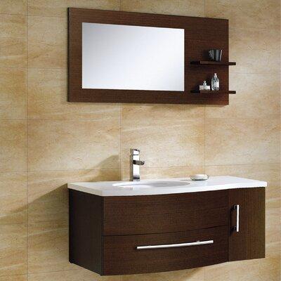 Aden 43 Single Bathroom Vanity Set with Mirror Finish: Wenge
