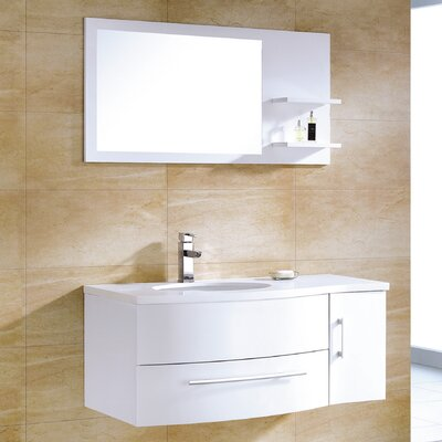 Aden 43 Single Bathroom Vanity Set with Mirror Finish: High Gloss White