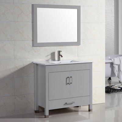 Vidya 30 Single Bathroom Vanity Set with Mirror Base Finish: Gray