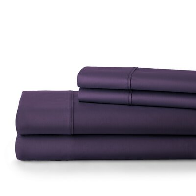 500 Thread Count Cotton Sateen Sheet Set Size: King, Color: Purple