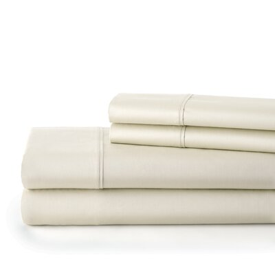 500 Thread Count Cotton Sateen Sheet Set Size: Full, Color: Off White