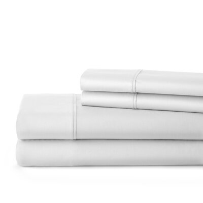 500 Thread Count Cotton Sateen Sheet Set Size: Queen, Color: Bright White