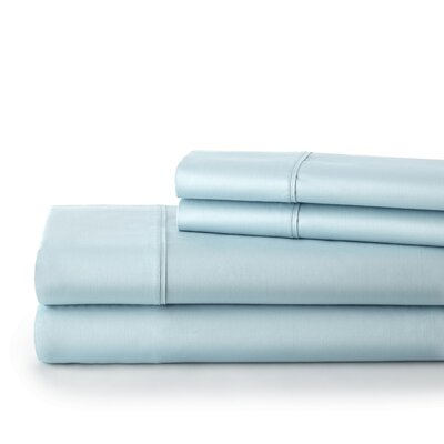 500 Thread Count Cotton Sateen Sheet Set Size: King, Color: Light Blue