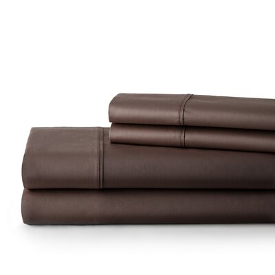 500 Thread Count Cotton Sateen Sheet Set Size: Queen, Color: Brown