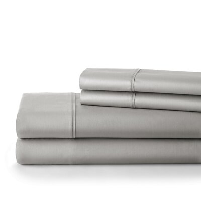 500 Thread Count Cotton Sateen Sheet Set Size: King, Color: Steel Gray