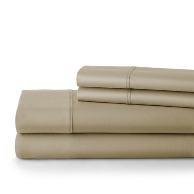 500 Thread Count Cotton Sateen Sheet Set Size: Full, Color: Taupe