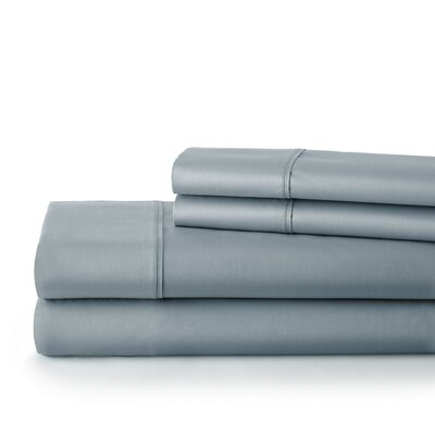 500 Thread Count Cotton Sateen Sheet Set Size: Queen, Color: Steel Blue